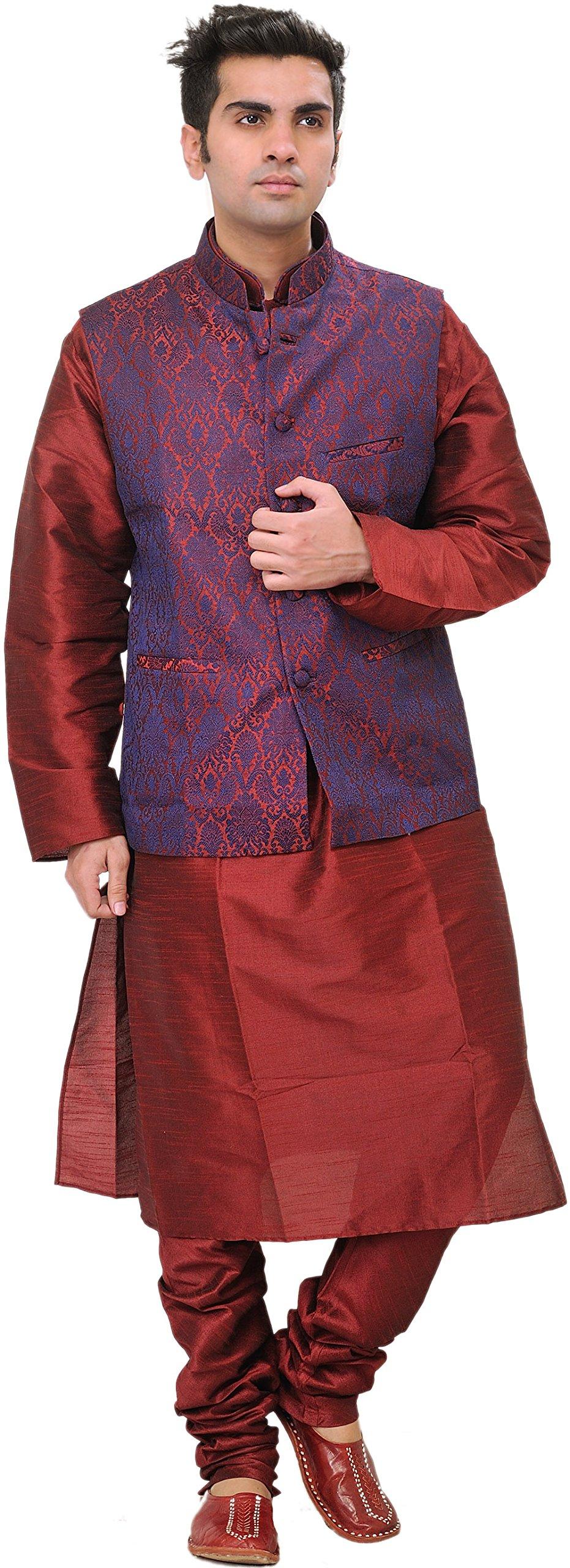 Exotic India Tibetan-Red Three Piece Wedding Kurta Paja Size 42
