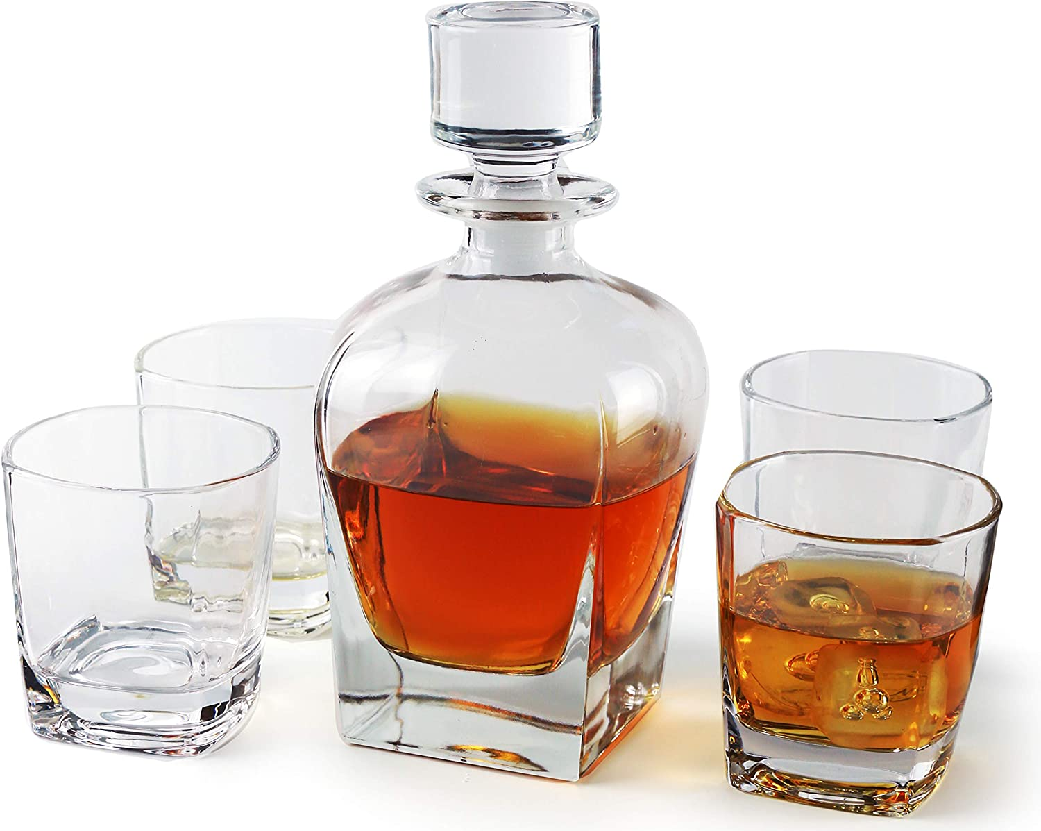 Circleware Monarch Whiskey Decanter Entertainment Set of 5 1 Liquor Dispenser Beverage Bottle with Round Stopper and 4 Matching Bar Drinking Glasses, 24 oz, Carafe & 9 oz. Cups