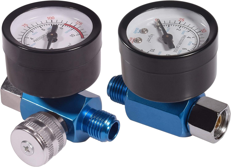 """2 PCS 1/4"""" Spray Paint Gun Air Pressure Regulator with Pressure Gauge"""