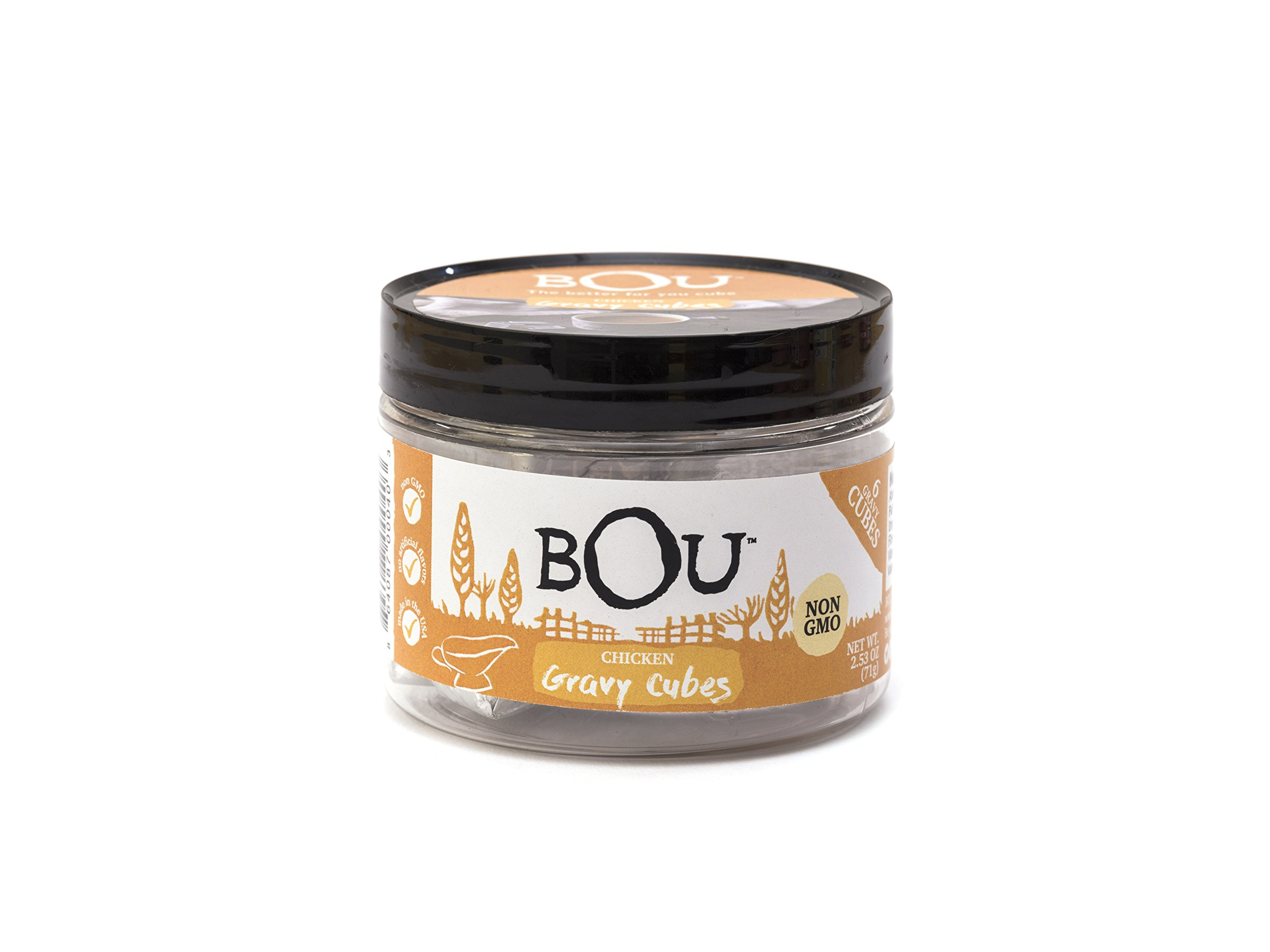 BOU Chicken Gravy Cubes, Pack of Six (6) 2.53 Ounce Containers Packed with Natural, Traditional Ingredients