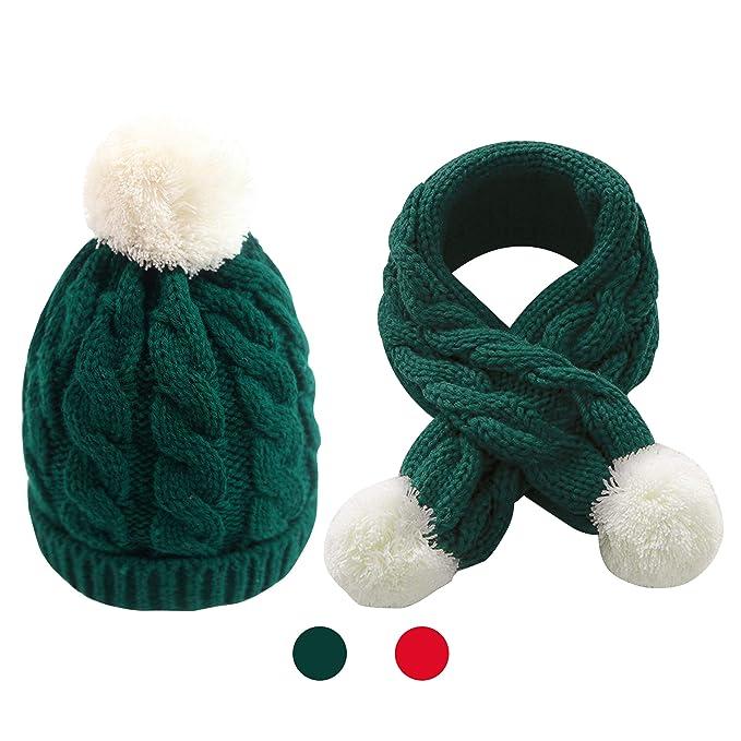 Amazon.com  Kids Winter Cable Knit Pom Beanie Hat Scarf Set by ... 55c0d1c7b38