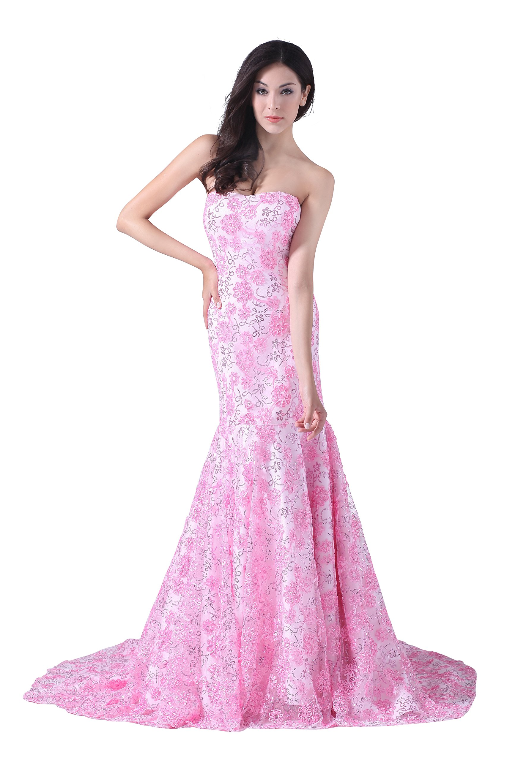 Vogue007 Womens Strapless Pongee Satin Formal Dress with Sequin, Pink, 18W by Unknown