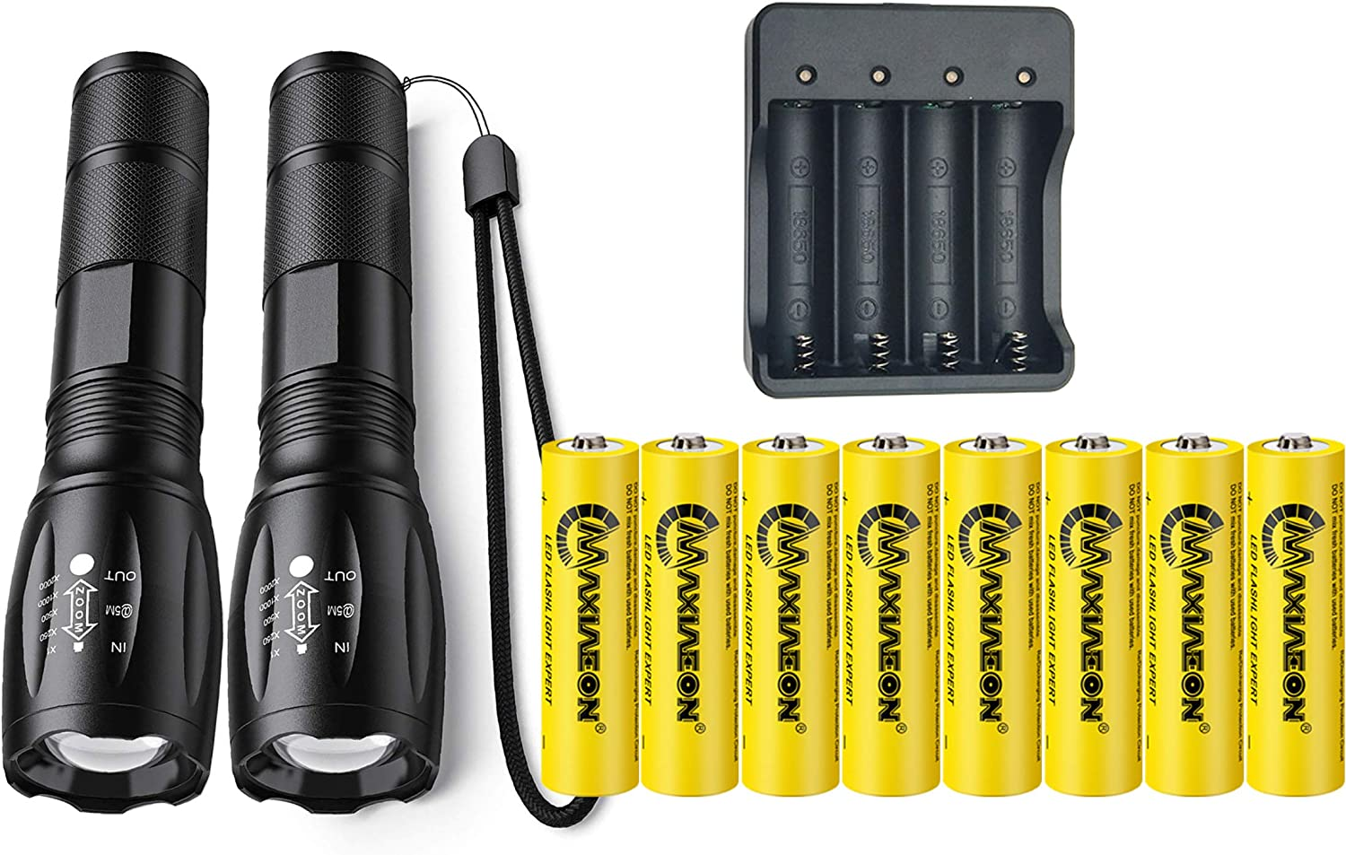 18650 Battery USB Charger Super Bright Led Flashlight Rechargeable Tactical