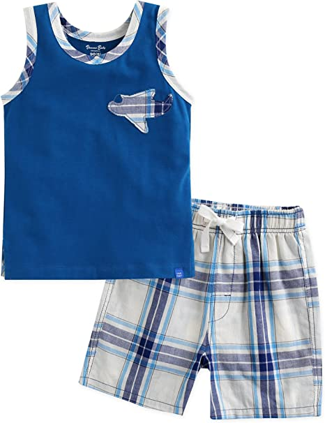 12M 2 PACK BLUE SUMMER 100/% COTTON SHORTS NEW BABY BOYS TINY BABY