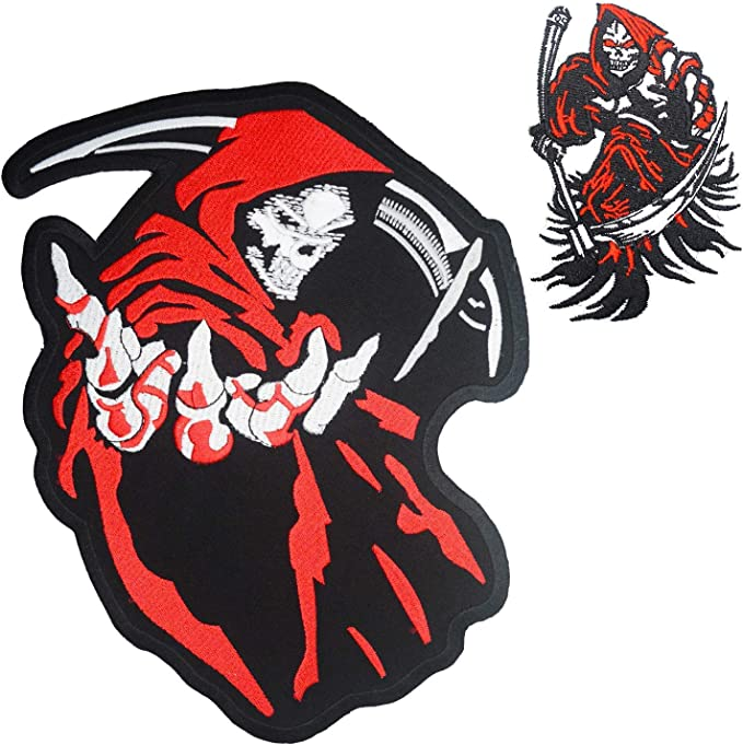 Reaper Skull Patches Grim Reaper Side Profile Patch