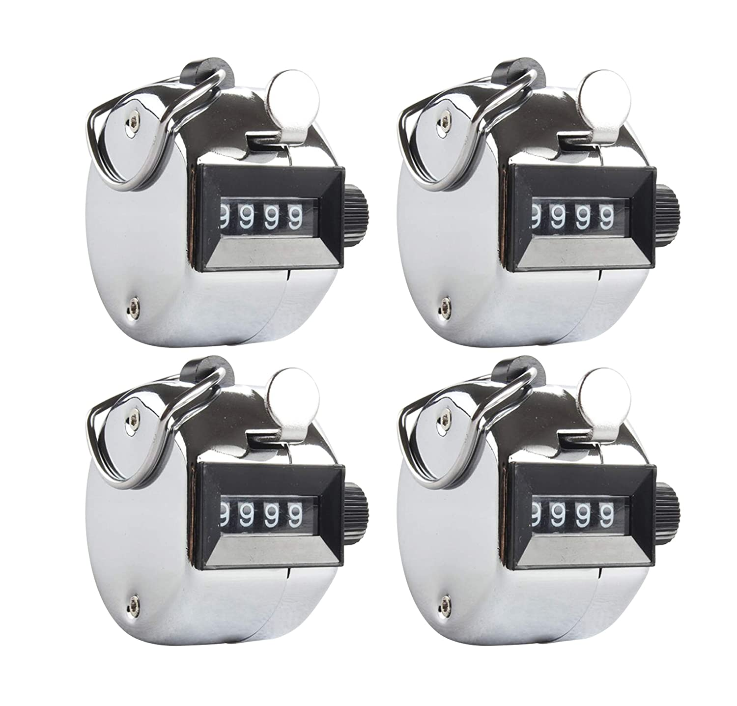 Aonal 4pack Tally Counter Handheld - 4 Digit Number Lap Counter Manual Mechanical Clicker with Finger Ring Sliver 102-LC-1