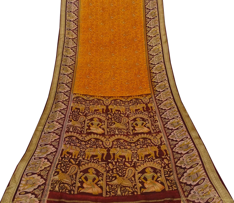 animaux et oiseaux sari saree en soie pure Orange sari tissu sari utilis/é avec des imprim/és indiens 5 m Vintageandyou paisley