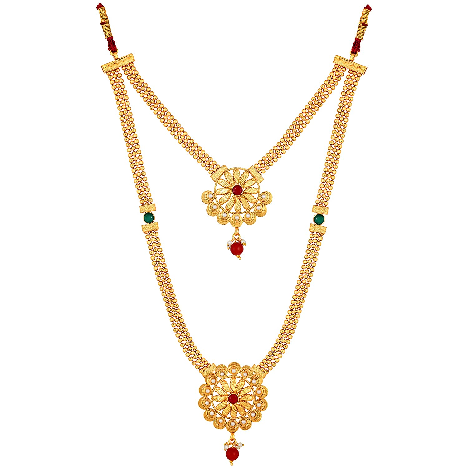 Buy Dhanmanju Women Gold Plated Round Ruby Pearl South Indian