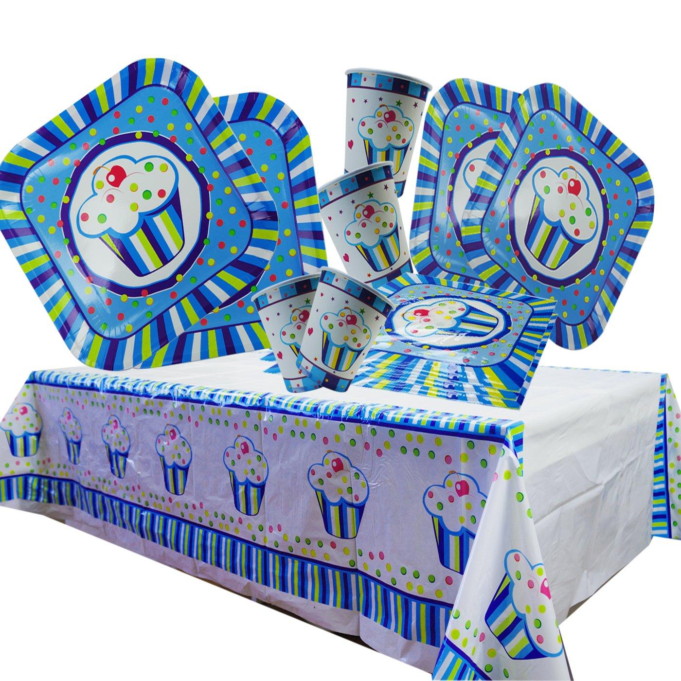 Cotigo-Juego Vajilla Plato Vaso Servillleta Mantel Desechable Set Cumpleaños Set de Articulo Fiesta para 16 persona Diseño Capcula Niños