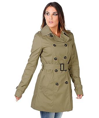 Trench coat col croisé avec ceinture (9289-KHA-10)  Amazon.fr ... 32c2e8fbd09