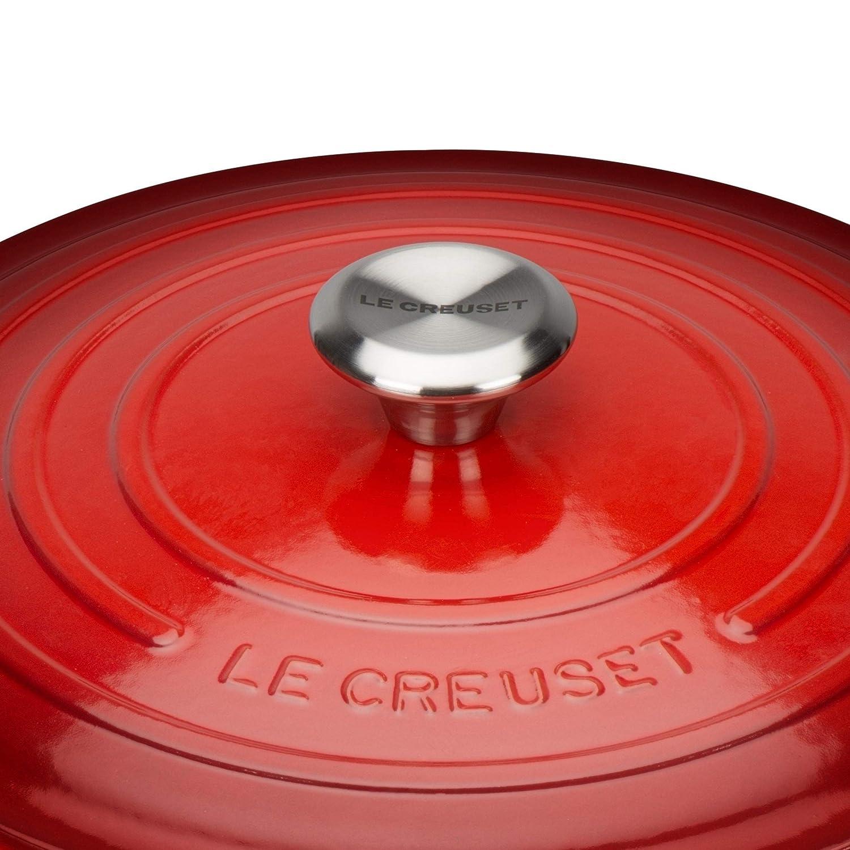 LE CREUSET Evolution Cocotte con Tapa, Redonda, Todas Las Fuentes de Calor Incl. inducción, 6,7 l, Hierro Fundido, Rojo (Cereza), 28 cm