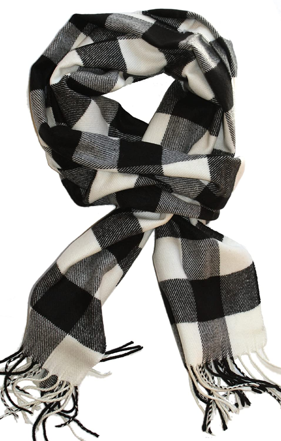 SethRoberts-Classic Buffalo Check Plaid, Cashmere Feel Men's Winter Scarf White