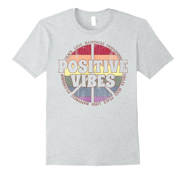 Positive Vibes Rainbow Peace Sign Hippie Vintage T Shirt ANZ