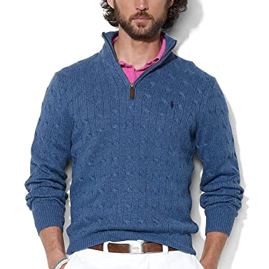 Polo Ralph Lauren Men's 1/3 Zip Cotton Cable Sweater (S, Blue Heather
