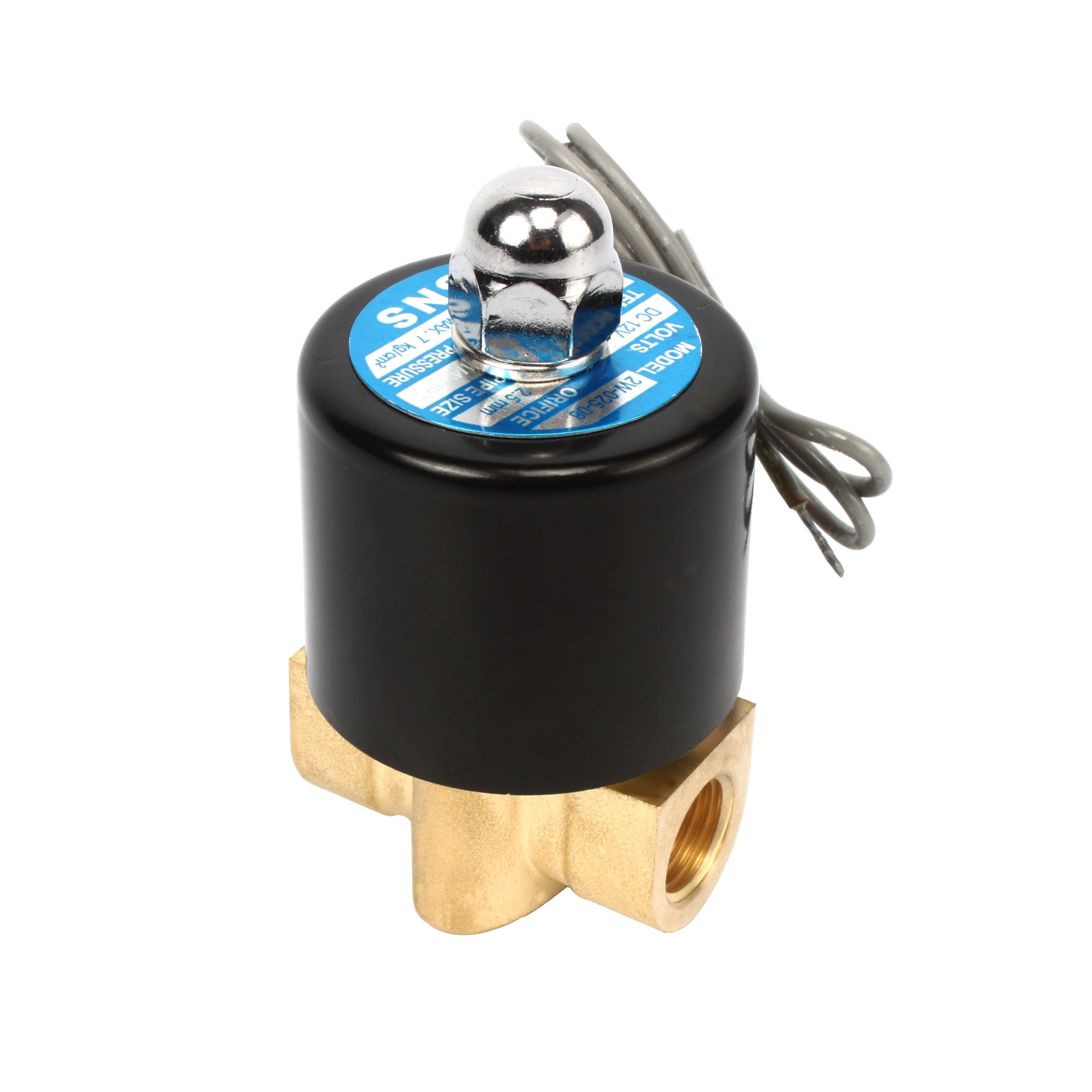 SNS 2W025-08 1/4'' DC12V NPT Brass Electric Solenoid Valve Normally Closed Water, Air, Diesel by SNS (Image #2)