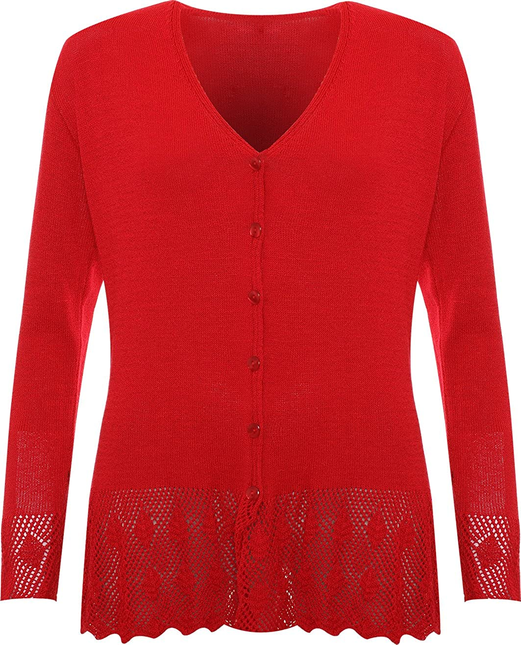 WearAll Plus Size Womens Knitted Button Cardigan Ladies Long Sleeve Crochet Top - Sizes 14-24 37500