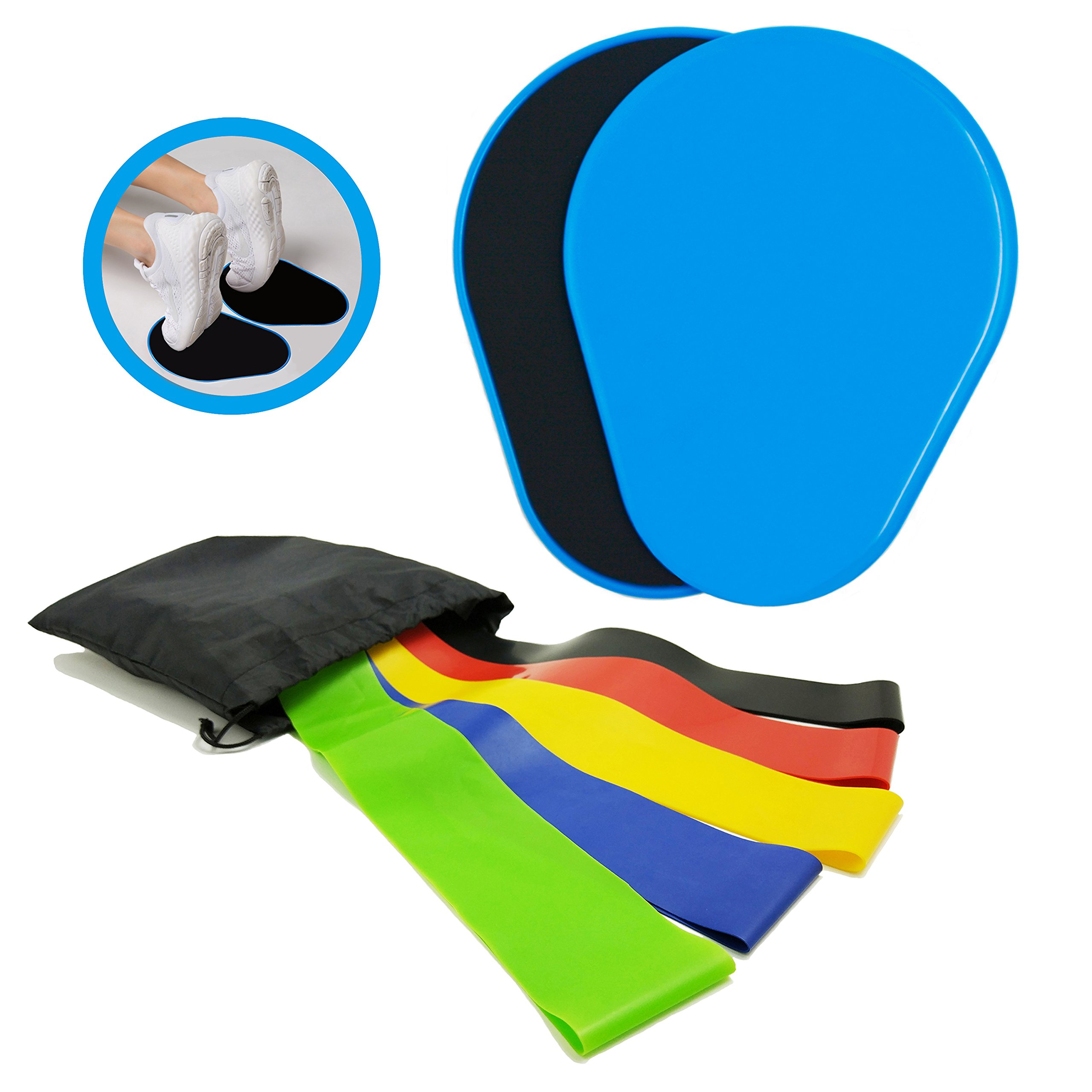HiFans 2 Gliding Discs Core Sliders and 5 Exercise Resistance Loop Bands, Abdominal & Total Body Workout Lightweight and Portable Exercise Equipment for Home