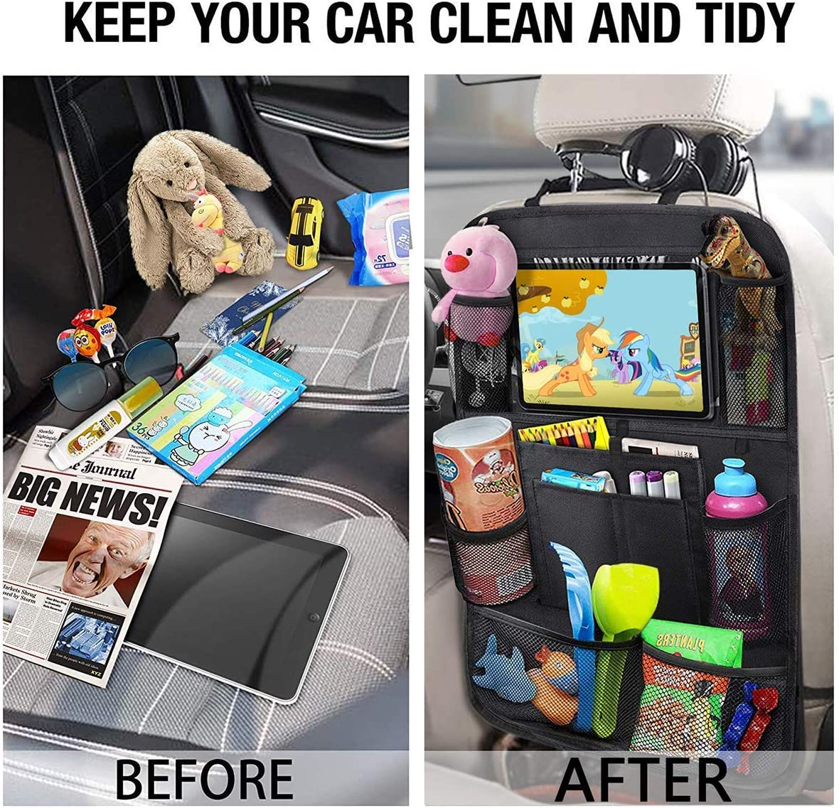 """Black, 2 Pack Kick Mats Back Seat Protector with a 11/""""Touch Screen Tablet Holder YES.YM Car Backseat Organizer 11 Storage Pockets for Kids and Toddlers Universal Car Travel Accessories"""