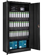 TecTake 800598 - Armario Archivador Negro, Armario de Almacenaje, de Acero, Armario de Puertas Batientes - Varios Modelos (Type 2   402938)