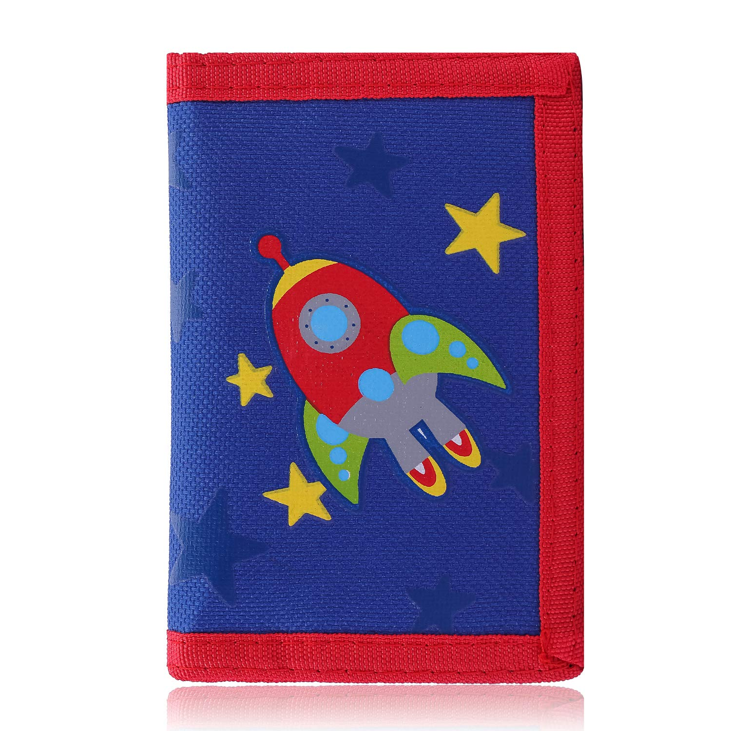 RFID Trifold Canvas Outdoor Cartoon Wallet for Kids/Slim Front Pocket Wallet with Zipper (Airship)
