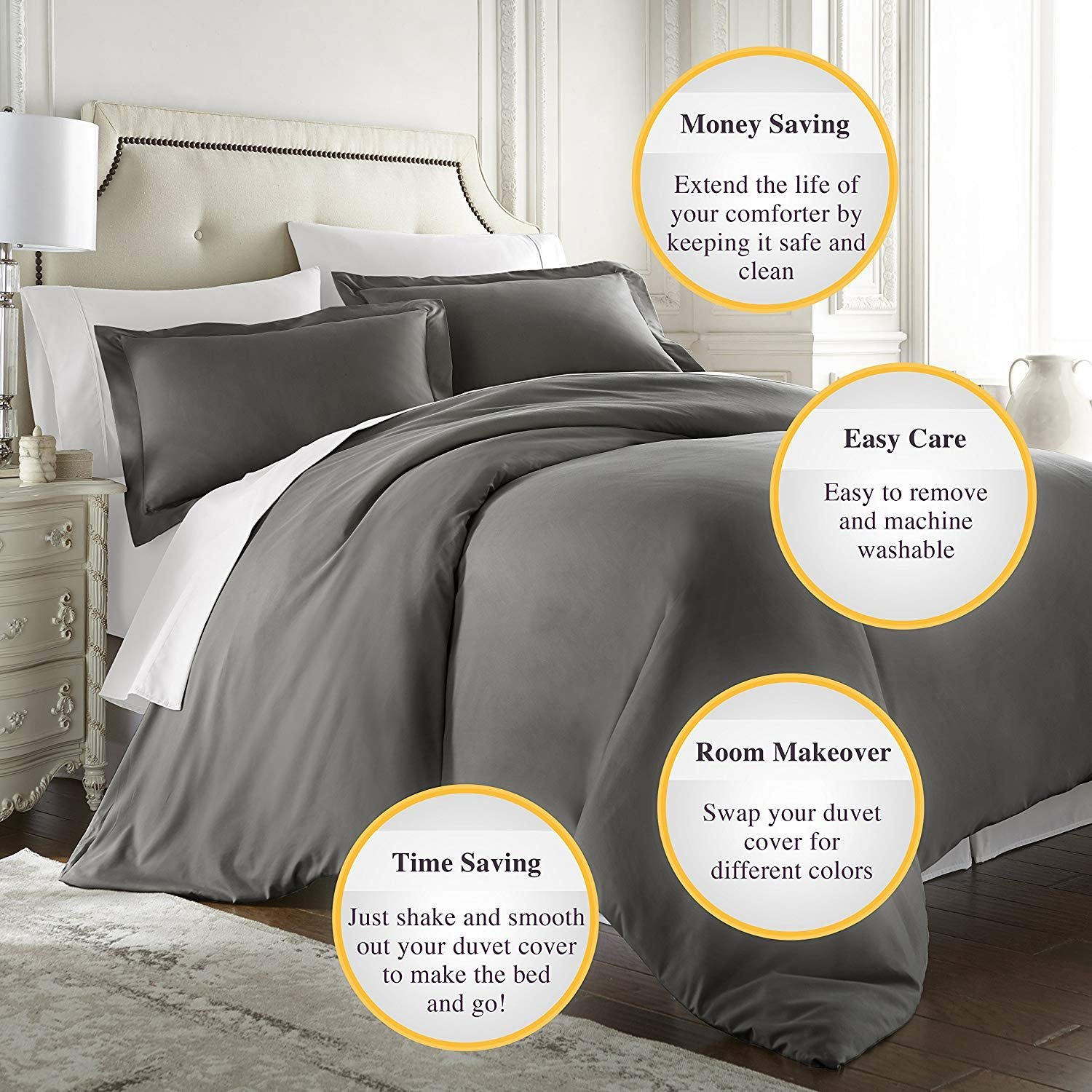 Bed-Bucket 100% Natural Cotton 800 Thread Count Hypoallergenic Design Wrinkle & Fade Resistant 98X120 Inch Over size Super King Dark Gray Solid Duvet Cover With Zipper Closer by Bed-Bucket (Image #1)