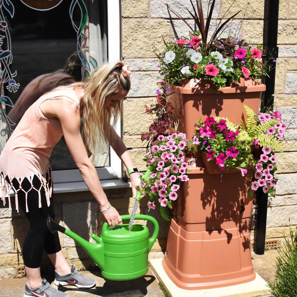 Terracotta 134 Litre Rainwater Terrace Water Butt 2 Tier