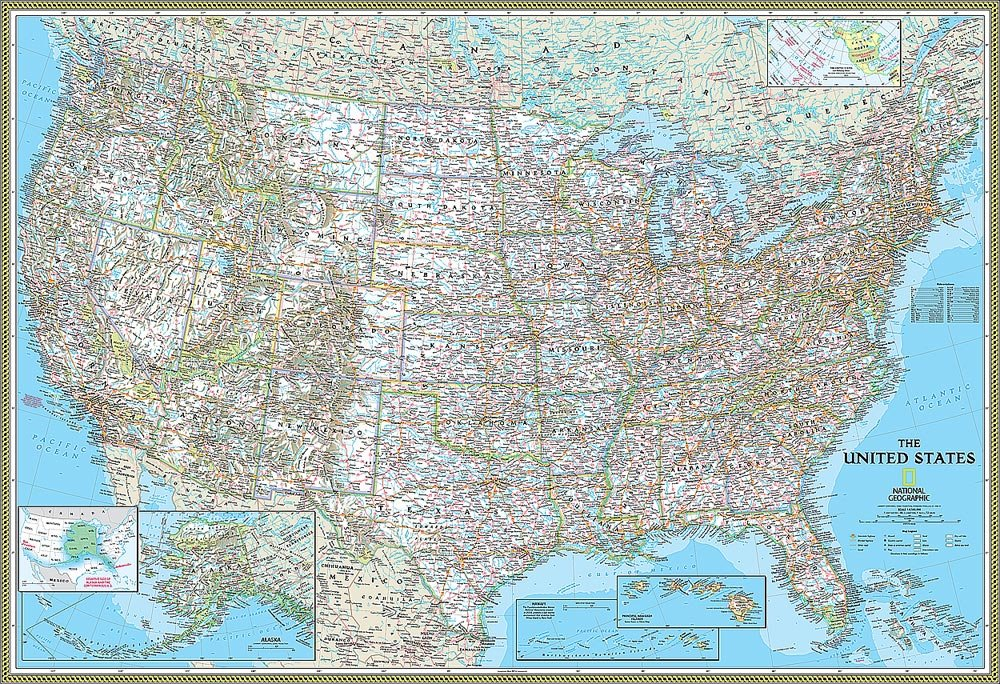 National Geographic's Classic United States of America (USA) Map Wall Mural -- Self-Adhesive Wallpaper in Various Sizes by Magic Murals by Magic Murals