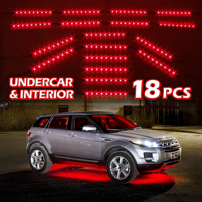 amazon com red premium 18pcs underglow car interior three mode