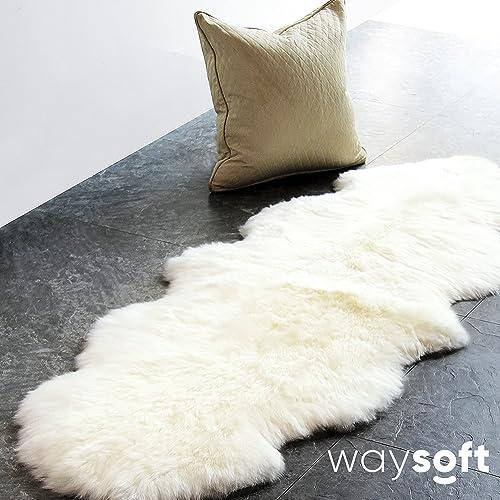 WaySoft Genuine New Zealand Sheepskin Rug, Luxuxry Fur Rug for Bedroom, Fluffy Rug for Living Room 2ft x 6ft, Natural