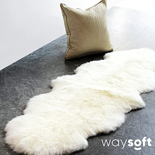 WaySoft Genuine New Zealand Sheepskin Rug, Luxuxry Fur Rug for Bedroom, Fluffy Rug for Living Room 2ft x 6ft, Natural