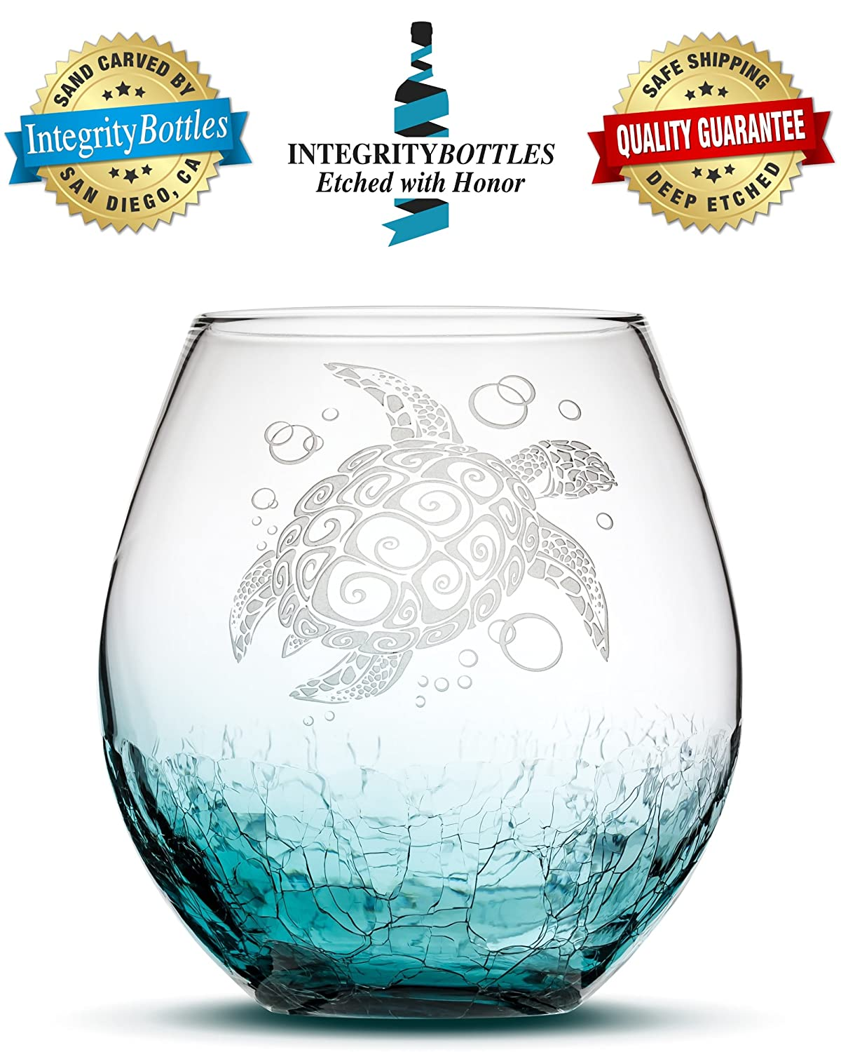 Sand Carved Stemless Wine Glass, Sea Turtle, Crackle Teal, Handblown, Tribal Honu Design, Etched Gifts by Integrity Bottles Crackle Teal Turtle