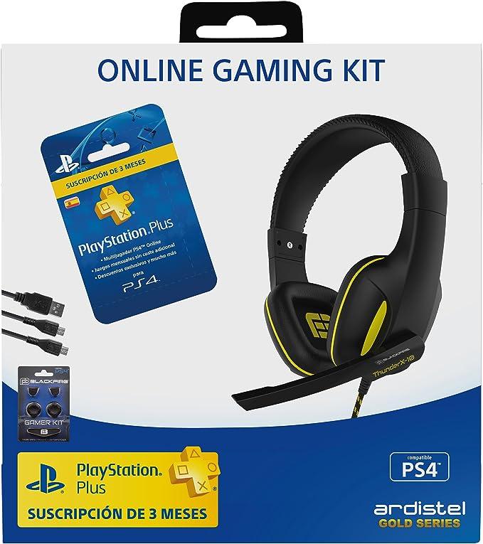Ardistel - Online Gaming Kit Dual A3 (PS4) - Gaming Headset estéreo con micrófono, conexión al mando DualShock4 + Tarjeta de suscripción PSPlus de 90 días + Accesorios para DualShock 4: Amazon.es: Videojuegos