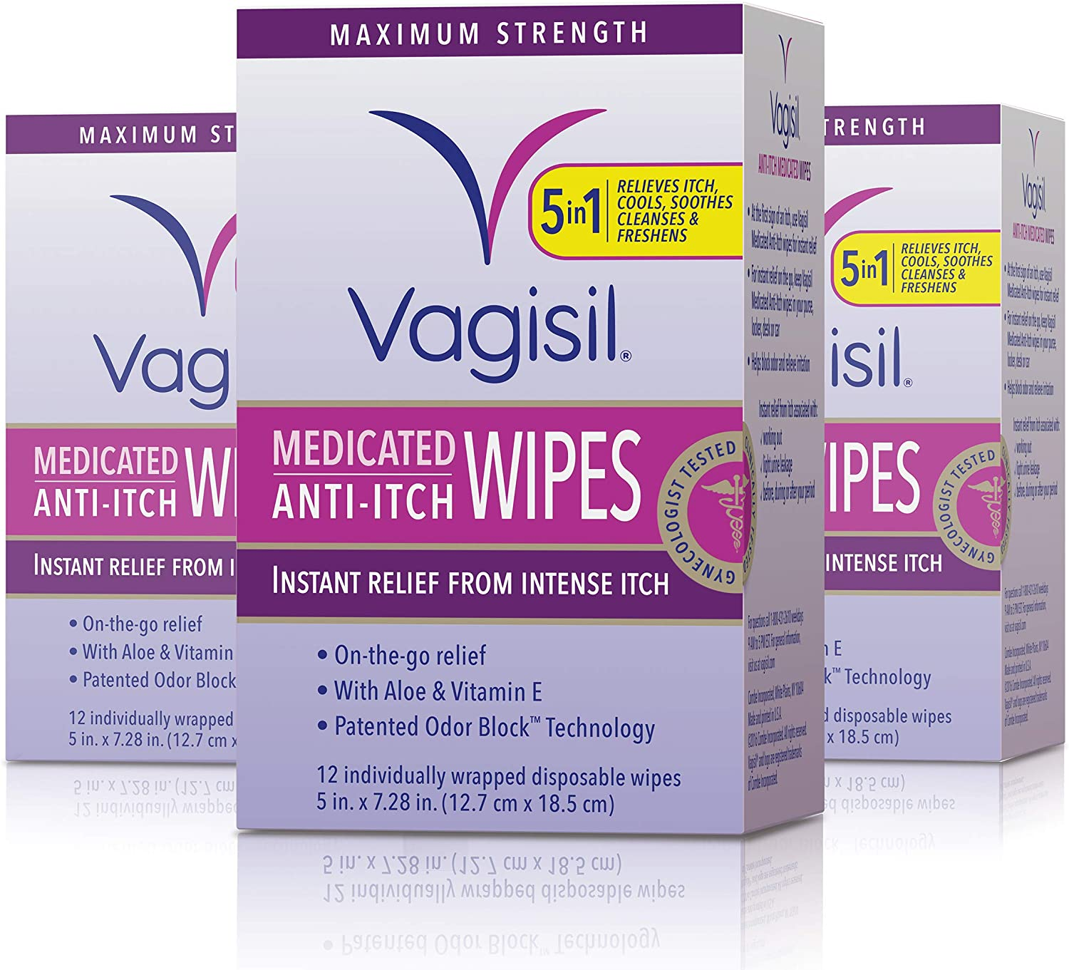 Vagisil Anti-Itch Medicated Feminine Intimate Wipes for Women, Maximum Strength, 12 Wipes in a Resealable Pouch- Pack of 3 (Packaging May Vary)