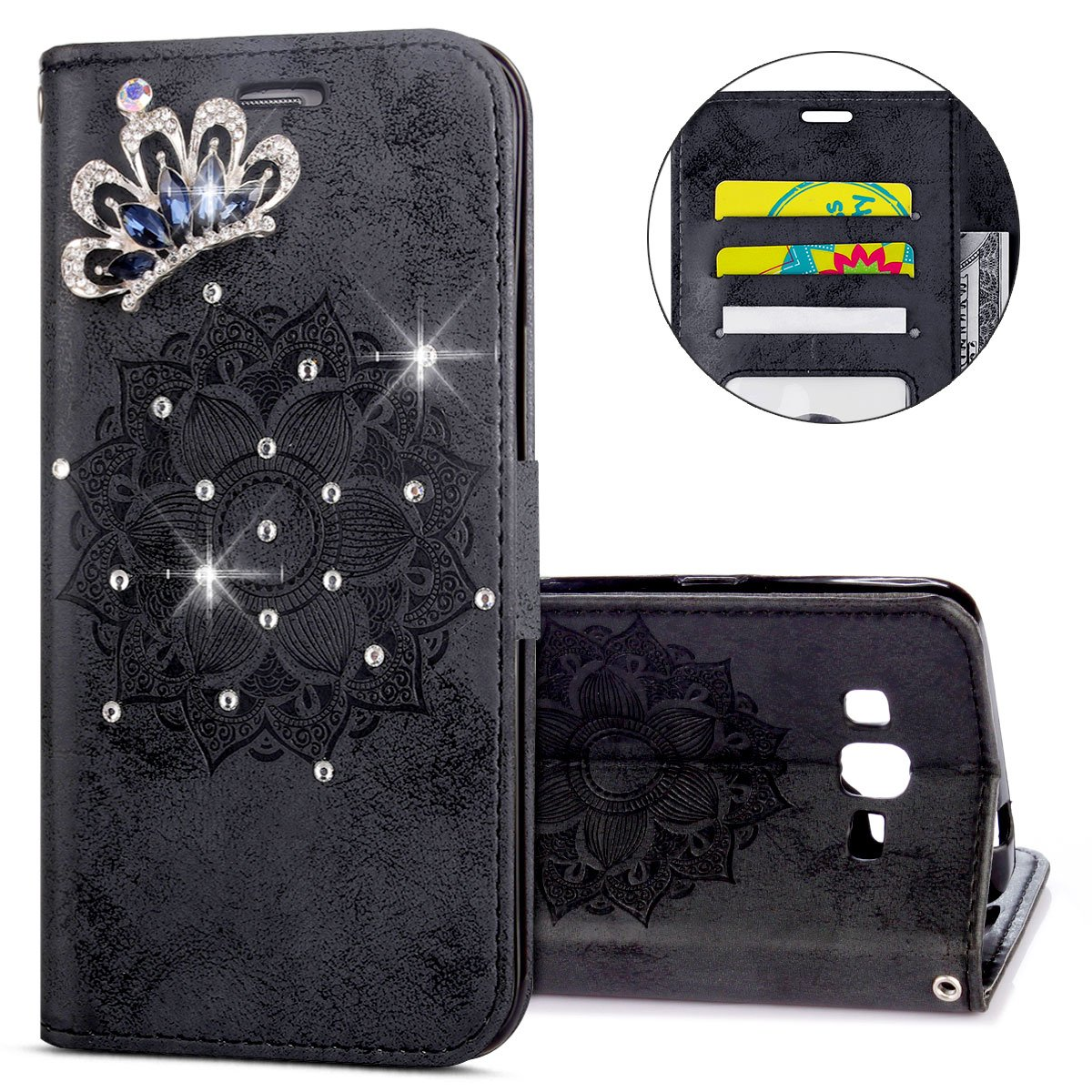 IKASEFU Galaxy G530 Case,3D Clear Crown Rhinestone Diamond Bling Glitter Wallet with Card Holder Emboss Mandala Floral Pu Leather Magnetic Flip Case Protective Cover for Samsung Galaxy G530,Black