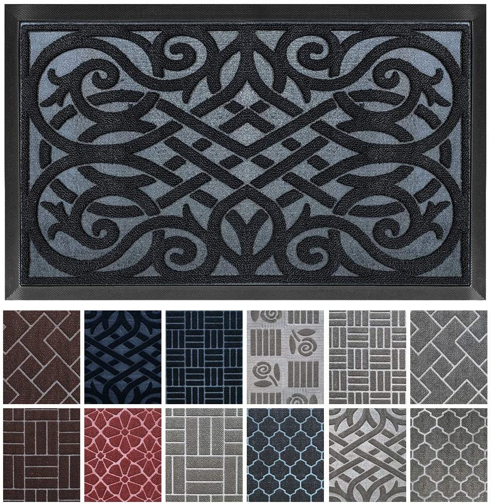 gb Home Collection Doormat, 18 x 30, Black, Indoor Outdoor Door Mat, Low Profile Entry Mat