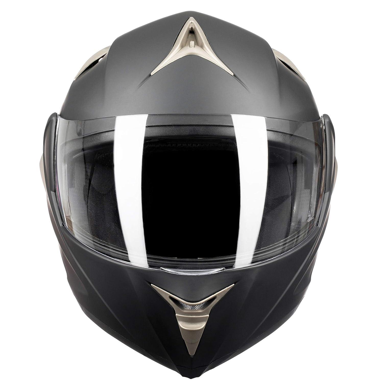 Amazon.es: Westt® Torque · Casco Modular de Moto en Negro Mate con Doble Visor - ECE homologado