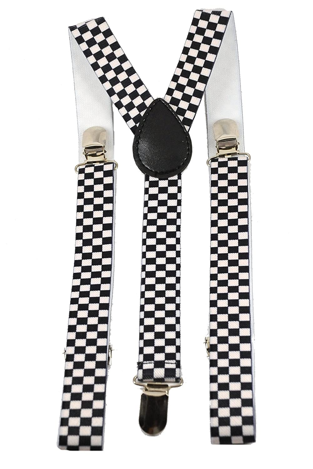 Youth Black and White Checkered Suspenders