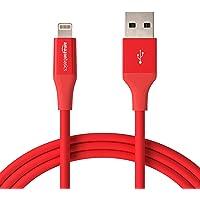 Amazon Basics - Cable de conector Lightning a USB A para iPhone y iPad - 1,8 m - 1 unidad, Rojo