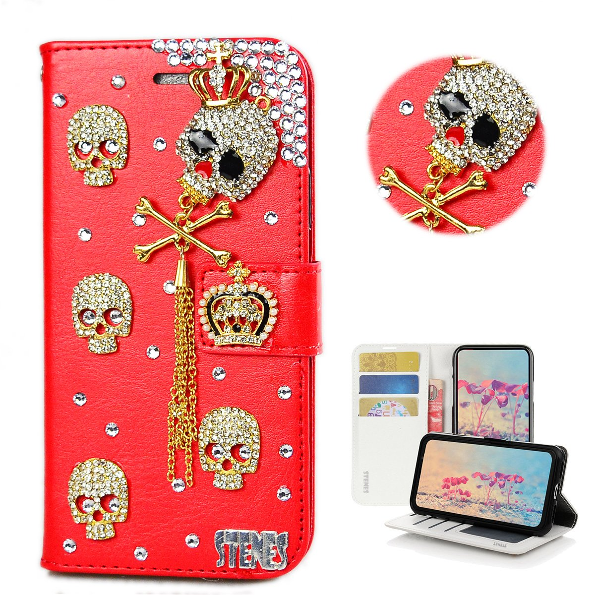 STENES iPhone 8 Plus Case - Stylish - 3D Handmade Bling Crystal Crown Skull Tassel Pendant Design Wallet Credit Card Slots Fold Stand Leather Cover for iPhone 7 Plus/iPhone 8 Plus - Red