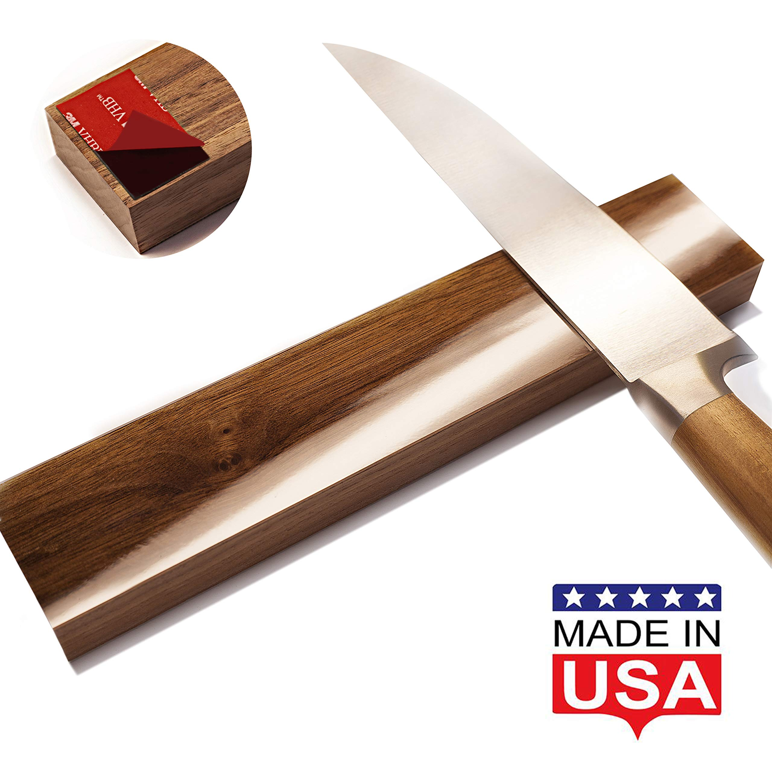 Magnetic Knife Strip Self Adhesive - 10 inch Magnet holder - Utensil Rack for Kitchen or Bar - Wall or Fridge Mount - Walnut Wood - Made in USA by Udge