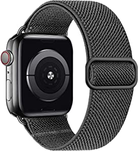 MEULOT Stretchy Braided Solo Loop Band Compatible with Apple Watch Band 38mm 40mm 42mm 44mm Adjustable Nylon Elastic Sport Women Men Strap Compatible with iWatch Series 6/5/4/3/2/1 SE Darkgrey 38/40S