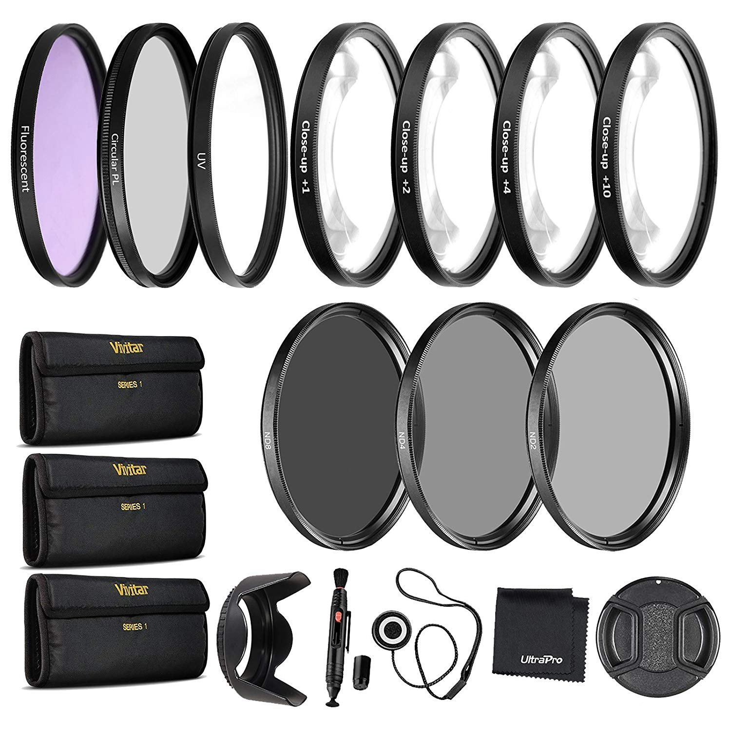 55mm Precision 10-PC Filter Kit Accessory Bundle - Includes UV, CPL, FLD, ND2, ND4, ND8 and 4 Macro Close-up Filters, Lens Hood, Cap, Cases and More by UltraPro