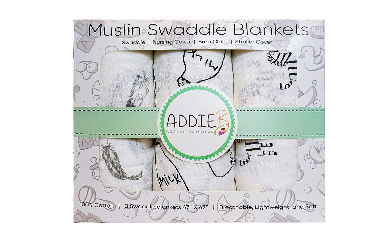 3-Pack Addie B Muslin Swaddles