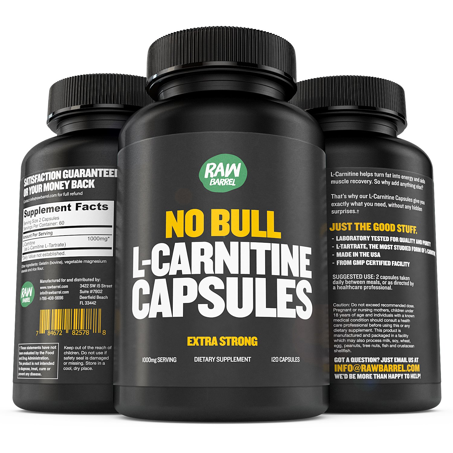 Raw Barrel's - Pure L-Carnitine Capsules - 500mg EXTRA STRONG Caps - SEE RESULTS OR YOUR MONEY BACK - L Carnitine L Tartrate - 120 Pills, 60 x 1000mg servings *FREE* digital guide