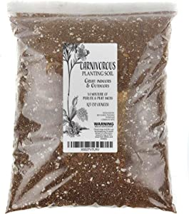 Carnivorous Plant Soil Mix, 1 Quart Re-Pot 1-2 Small Plants Size Bag, All Natural Ingredients, Great Soil for Venus Fly Traps, Sundews, and Pitcher Plants (1qt)