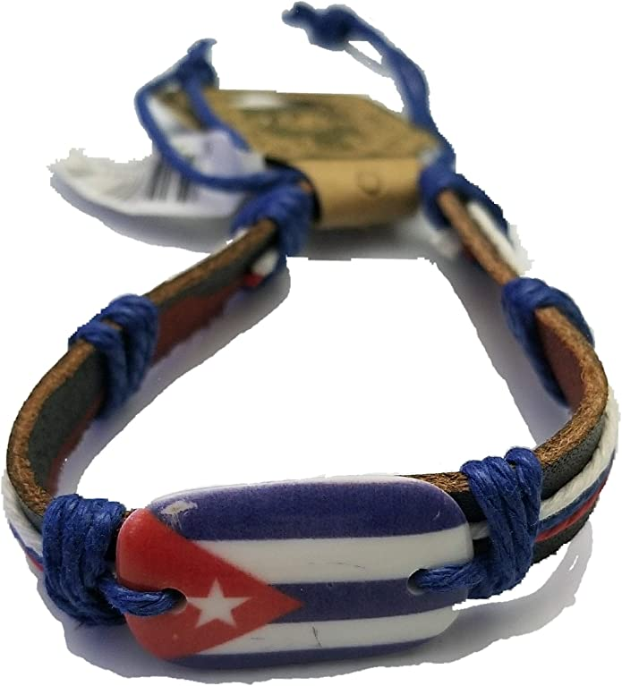 BUNFIREs Cuba bandera pulsera pulsera pulsera pulsera de cuero genuino cubano: Amazon.es: Joyería