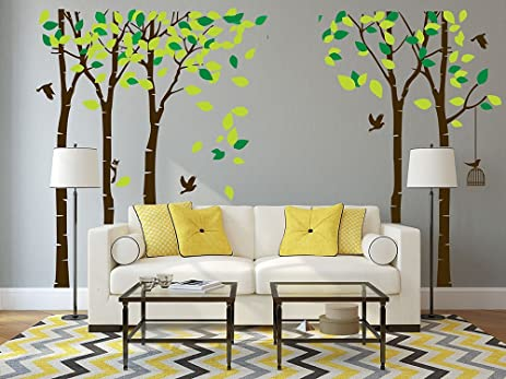 giant jungle tree wall decal removable vinyl sticker mural art living room nursery kids rooms wall - Living Room Decor Tree