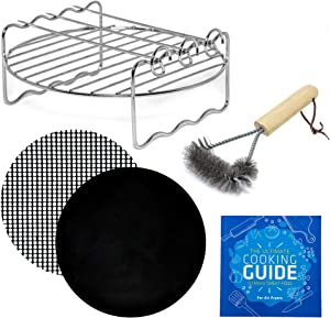 Air Fryer Skewer Rack Accessories Compatible with Posame, Secura, Willsence, Zeny, Zokop, Chefman 3.7qt, Elite Platinum 3.4qt + More | Airfryer Accessory for Kebab, Barbecue, Grilling + Cooking Guide