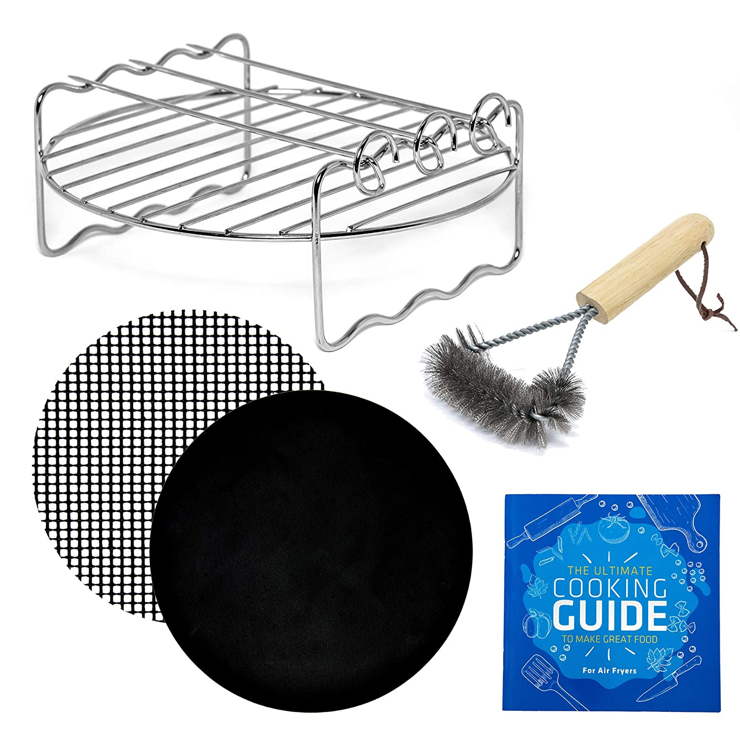 Air Fryer Rack Accessory Compatible with Chefman, Costway, Costzon, Della, Emerald, Flexzion, GoWise, Maxi-Matic, NutriChef +More   Airfryer BBQ Grill Kebab with Grill Brush for Cooking & Grilling
