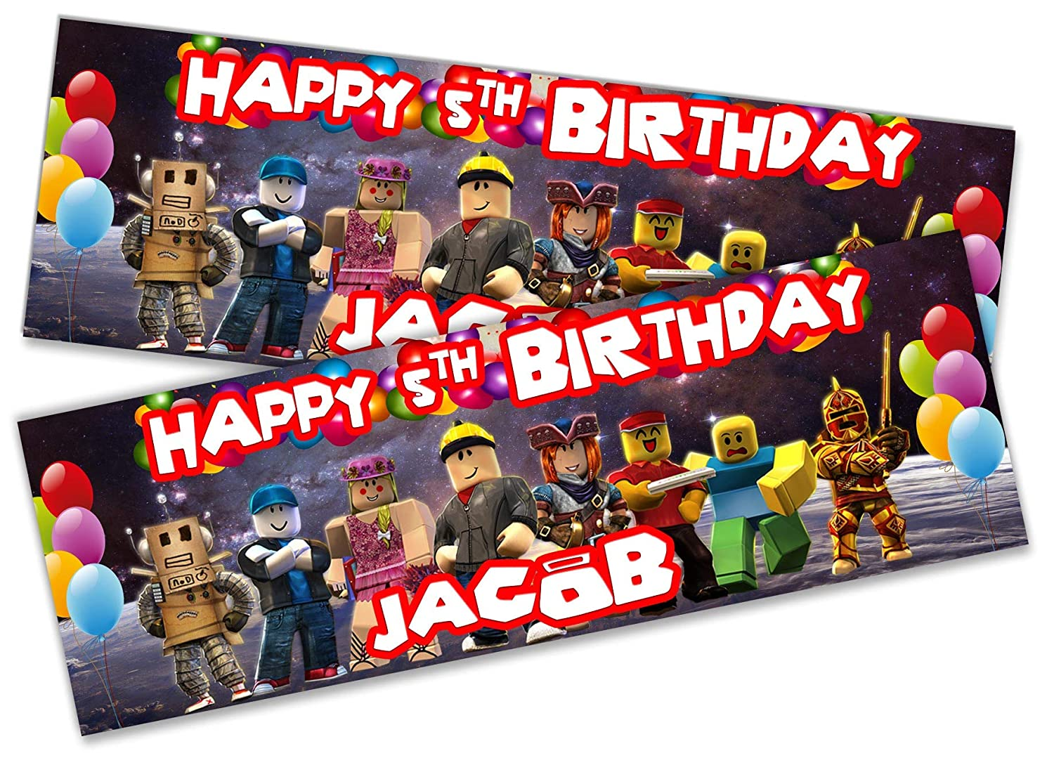 x2 Personalised Birthday Banner Roblox Children Kids Party Decoration Poster 21 Small 3ft x 1ft